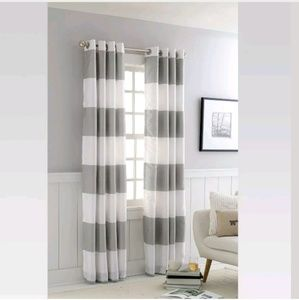 Threshold Accents - BOLD STRIPED GOURMET CURTAIN -WHITE/GRAY